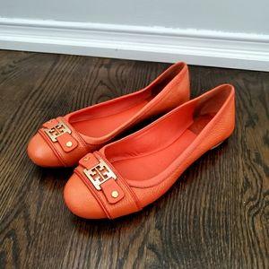 Tory Burch Orange Leather Flats Size 8